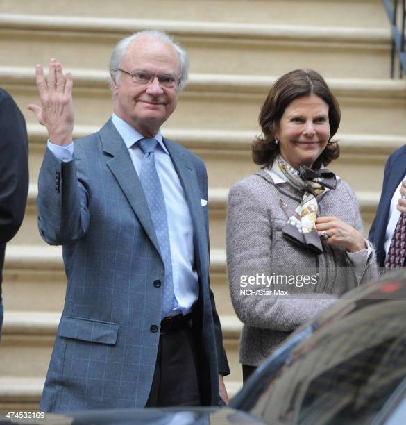 King Carl XVI Gustaf of Sweden and Queen Silvia of Sweden are seen on February 23 2014 in New York City