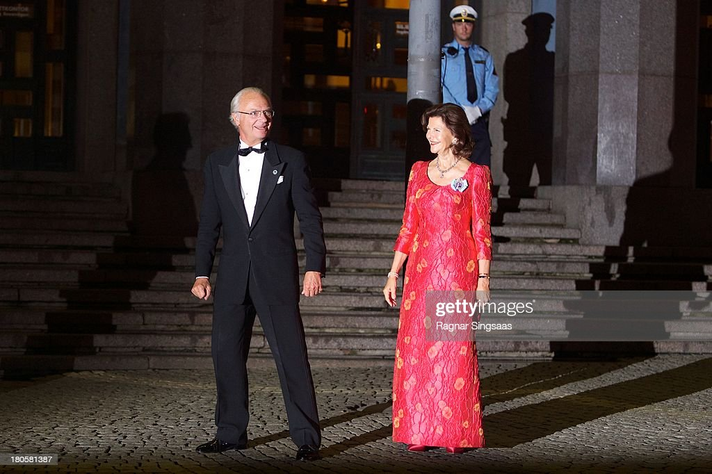King Carl XVI Gustaf of Sweden and <a gi-track='captionPersonalityLinkClicked' href=/galleries/search?phrase=Queen+Silvia+of+Sweden&family=editorial&specificpeople=160332 ng-click='$event.stopPropagation()'>Queen Silvia of Sweden</a> arrive at the Swedish Riksdag's Jubilee Concert To Celebrate King Carl Gustaf's 40th Jubilee at Stockholm Concert Hall on September 14, 2013 in Stockholm, Sweden.