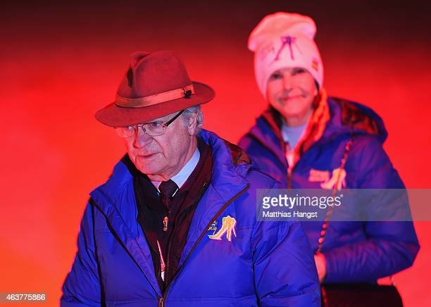 King Carl XVI Gustaf of Sweden and Queen Silvia of Sweden arrive for the Opening Ceremony of the FIS Nordic World Ski Championships at the Lugnet...