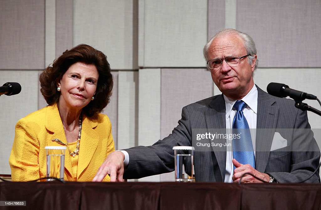 King Carl XVI Gustaf of Sweden and Queen Silvia of Sweden attend during the press conference at the Shilla Hotel on May 31 2012 in Seoul South Korea...
