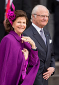 King Carl XVI Gustaf of Sweden and Queen Silvia of Sweden leave the Town Hall after lunch during festivities for the 75th birthday of Queen Margrethe...