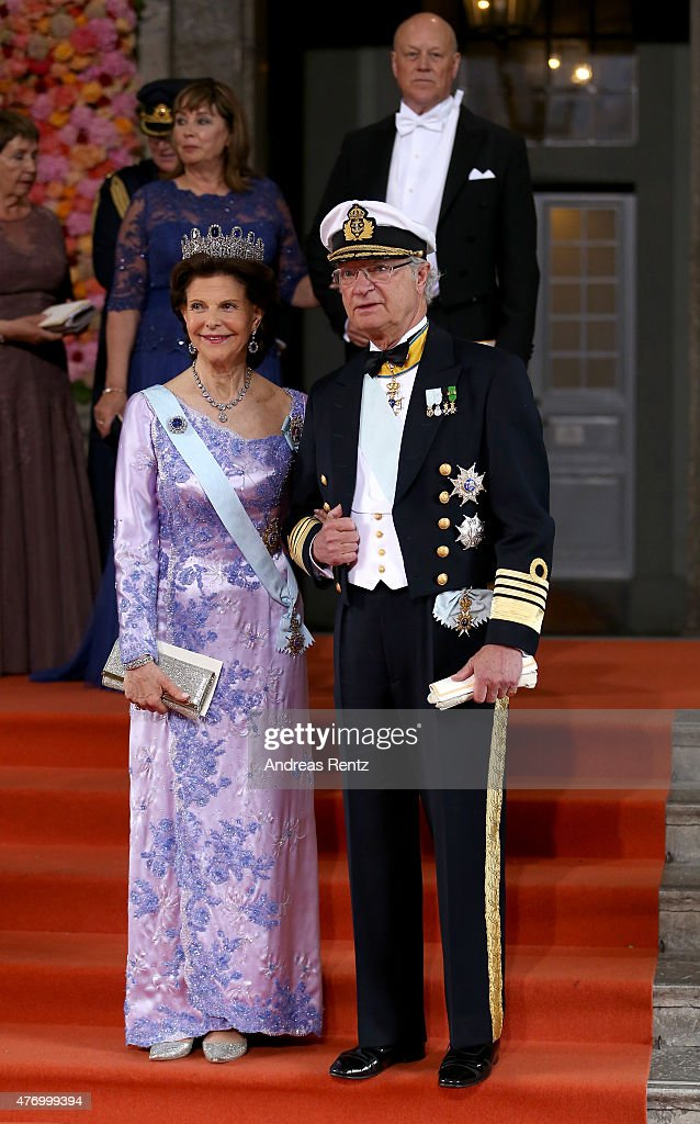 King Carl XVI Gustaf of Sweden and <a gi-track='captionPersonalityLinkClicked' href=/galleries/search?phrase=Queen+Silvia+of+Sweden&family=editorial&specificpeople=160332 ng-click='$event.stopPropagation()'>Queen Silvia of Sweden</a> seen departing after marriage ceremony on June 13, 2015 in Stockholm, Sweden.