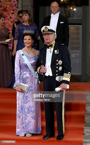 King Carl XVI Gustaf of Sweden and Queen Silvia of Sweden seen departing after marriage ceremony on June 13 2015 in Stockholm Sweden