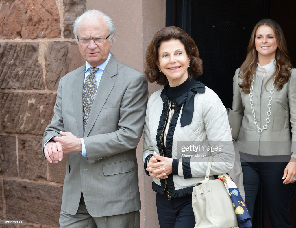 King Carl XVI Gustaf of Sweden and Queen Silvia of Sweden visit Castle Clinton National Monument at Battery Park on May 8, 2013 in New York City.