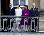 King Carl XVI Gustaf of Sweden and Queen Silvia of Sweden with Crown Princess Victoria of Sweden and Prince Daniel Duke of Vastergotland on the...