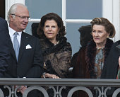 ** ** King Carl Xvi Gustaf Of Sweden And Queen Silvia Of Sweden With Queen Sonja Of Norway On A Balcony At Christian IX's Palace At Amalienborg To...
