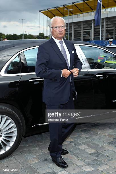 King Carl XVI Gustaf of Sweden arrives for the media night of the CHIO 2016 on July 12 2016 in Aachen Germany