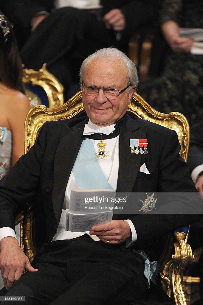 King Carl XVI Gustaf of Sweden attends the 2012 Nobel Prize Award Ceremony at Concert Hall on December 10, 2012 in Stockholm, Sweden.