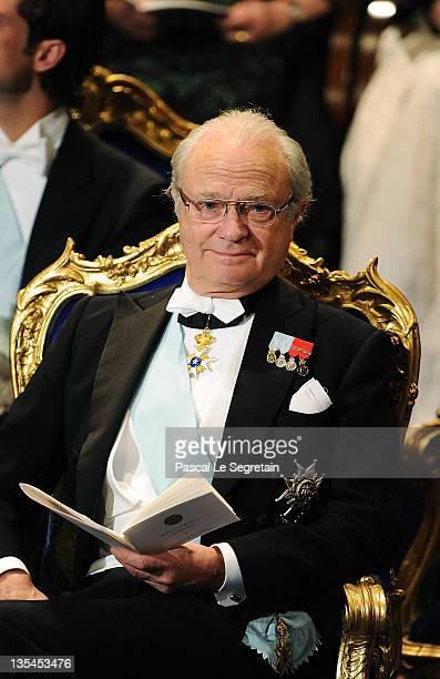 King Carl XVI Gustaf of Sweden attends the Nobel Prize Award Ceremony at Stockholm Concert Hall on December 10 2011 in Stockholm Sweden