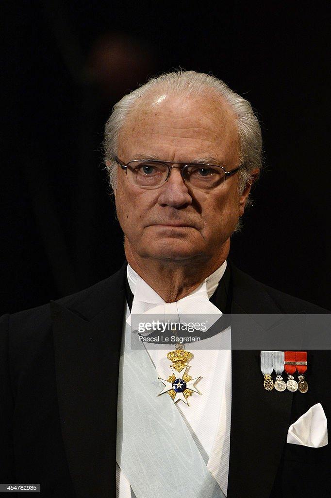 King Carl XVI Gustaf of Sweden attends the Nobel Prize Awards Ceremony at Concert Hall on December 10, 2013 in Stockholm, Sweden.