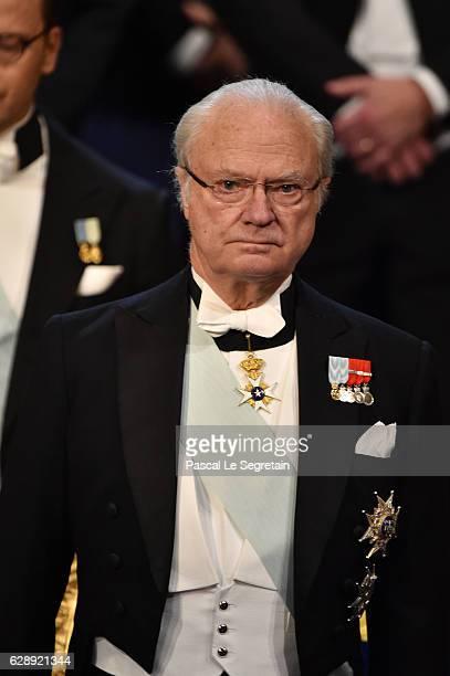 King Carl XVI Gustaf of Sweden attends the Nobel Prize Awards Ceremony at Concert Hall on December 10 2016 in Stockholm Sweden