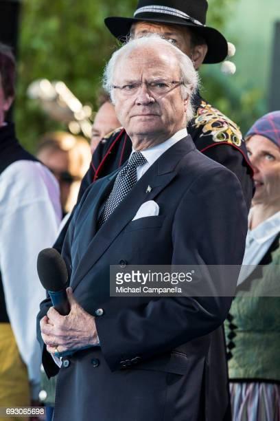 King Carl XVI Gustaf of Sweden during the national day celebrations at Skansen on June 6 2017 in Stockholm Sweden