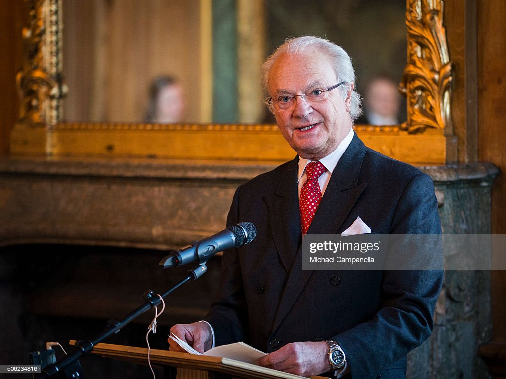 King Carl XVI Gustaf of Sweden gives a speech at the opening of the exhibition 'In Course of Time, 400 Years Of Royal Clocks' at the Royal Palace on January 22, 2016 in Stockholm, Sweden.