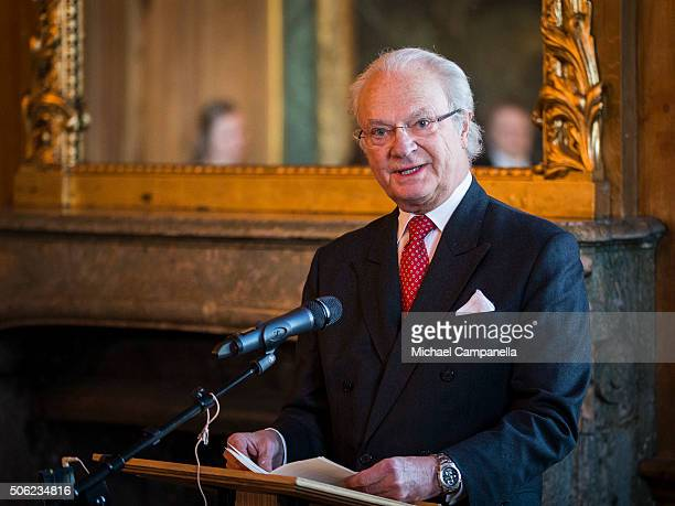 King Carl XVI Gustaf of Sweden gives a speech at the opening of the exhibition 'In Course of Time 400 Years Of Royal Clocks' at the Royal Palace on...