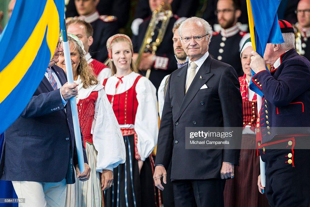 King Carl XVI Gustaf of Sweden participates in a ceremony celebrating Sweden's national day at Skansen on June 6, 2015 in Stockholm, Sweden.