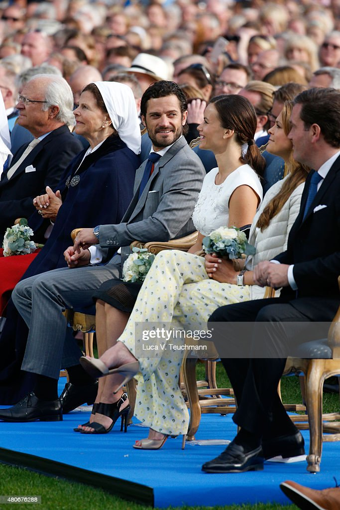 King Carl XVI Gustaf of Sweden; Princess Sofia of Sweden; Prince Carl Philip of Sweden; Princess Madeleine of Sweden; Christopher O'Neill attend a concert to celebrate the 38th birthday of Crown Princess Victoria of Sweden at Borgholmon July 14, 2015 in Oland, Sweden.