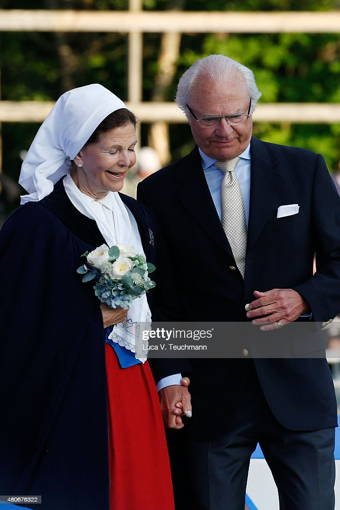King Carl XVI Gustaf of Sweden; Queen Silvia of Swede attend a concert to celebrate the 38th birthday of Crown Princess Victoria of Sweden at Borgholmon July 14, 2015 in Oland, Sweden.