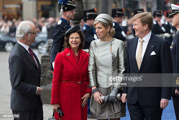 King Carl XVI Gustaf Of Sweden Queen Silvia of Sweden Queen Maxima of The Netherlands and King WillemAlexander of The Netherlands arrive at the Royal...