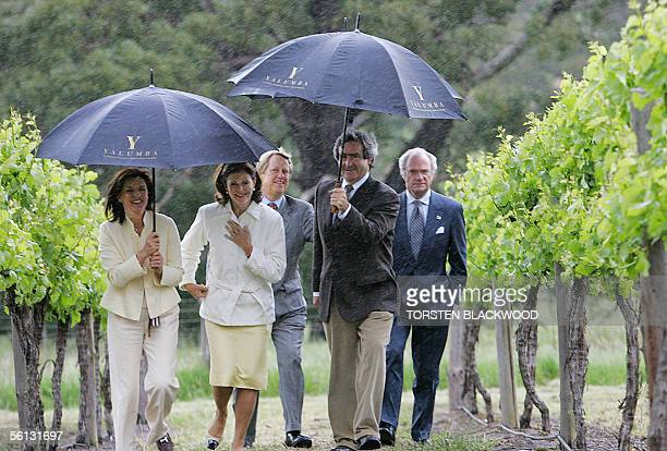 King Carl XVI Gustaf of Sweden Queen Silvia Robert Hill Smith the managing director of the Yalumba Wine Company his wife Annabel and wine master...