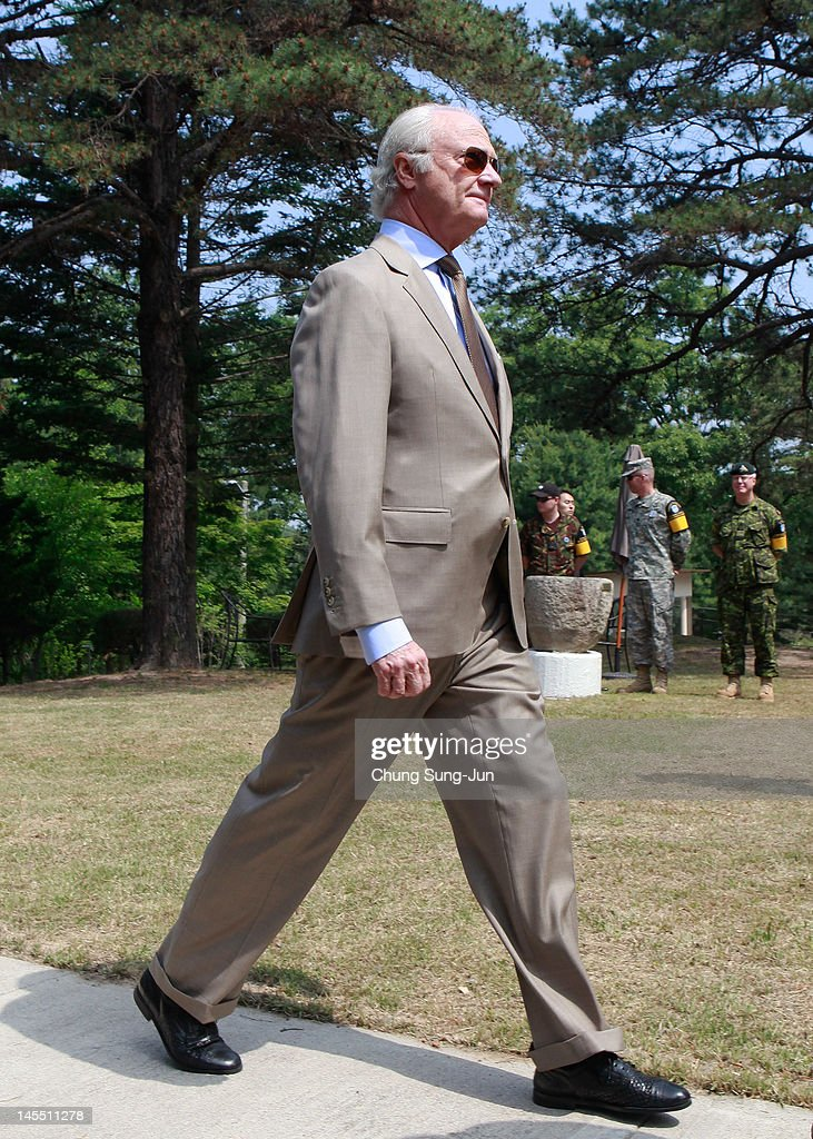 King Carl XVI Gustaf of Sweden visits at Swedish Camp of the Neutral Nations Supervisory Camp (NNSC) at the border village of panmunjom between South and North Korea in the demilitarized zone (DMZ) on June 1, 2012, South Korea. The Swedish royals are on the four-day tour to South Korea.