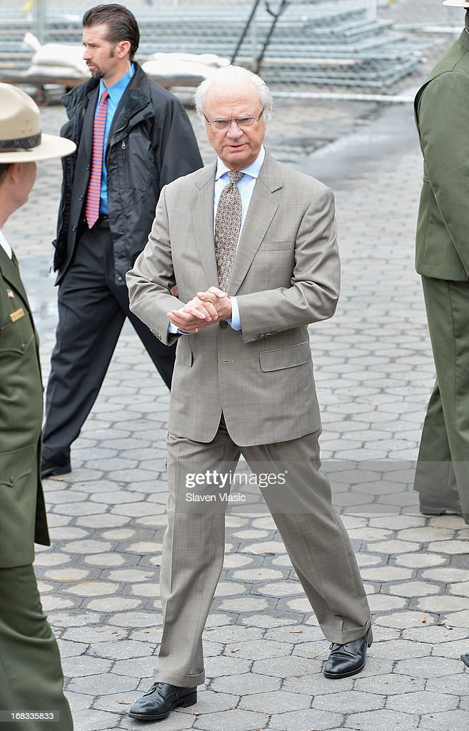 King Carl XVI Gustaf of Sweden visits The Castle Clinton National Monument at Battery Park on May 8, 2013 in New York City.