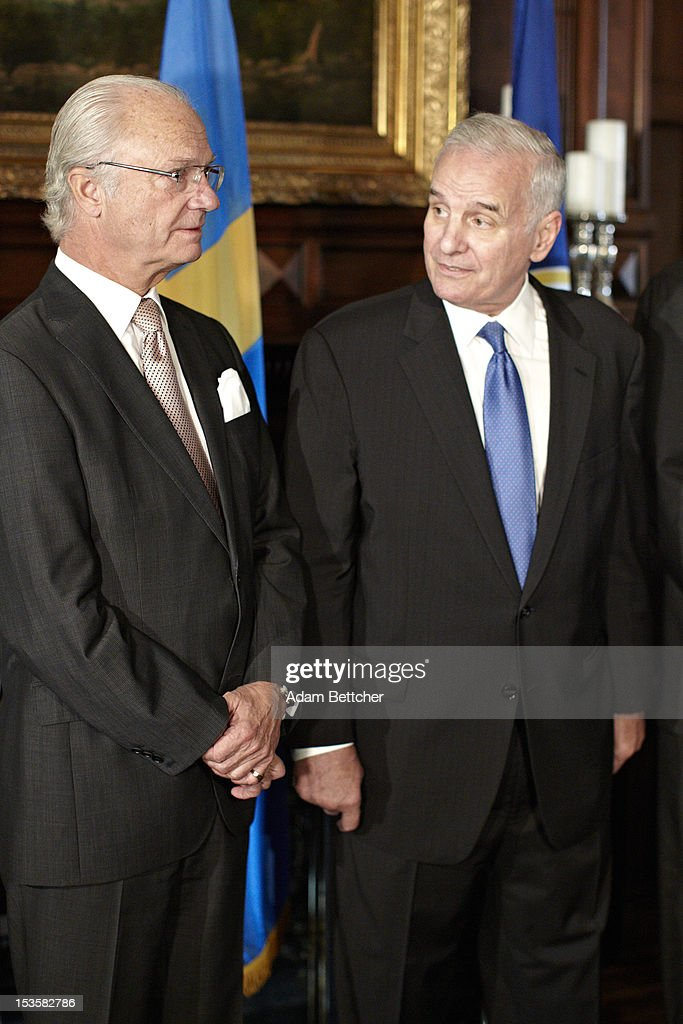 King Carl XVI Gustaf of Sweden visits with Minnesota Governor <a gi-track='captionPersonalityLinkClicked' href=/galleries/search?phrase=Mark+Dayton&family=editorial&specificpeople=612750 ng-click='$event.stopPropagation()'>Mark Dayton</a> at the Governors residence on October 6, 2012 in St. Paul, Minnesota.