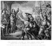 King Charles I erecting his standard at Nottingham at the start of the English Civil War 25th August 1642 Charles I was King of England Scotland and...
