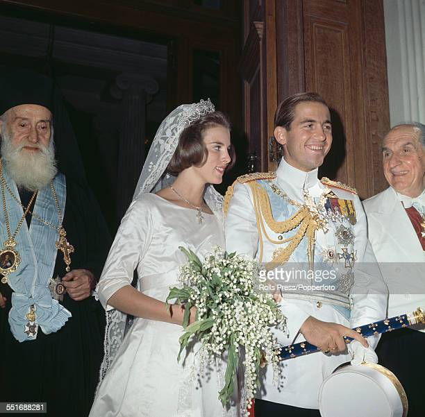 King Constantine II of Greece and Princess AnneMarie of Denmark pictured together during their wedding day celebrations in Athens Greece on 18th...