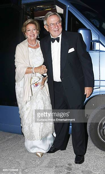 King Constantine II of Greece and Queen AnneMarie of Greece attend private dinner to celebrate their Golden Wedding at Yacht Club on September 18...