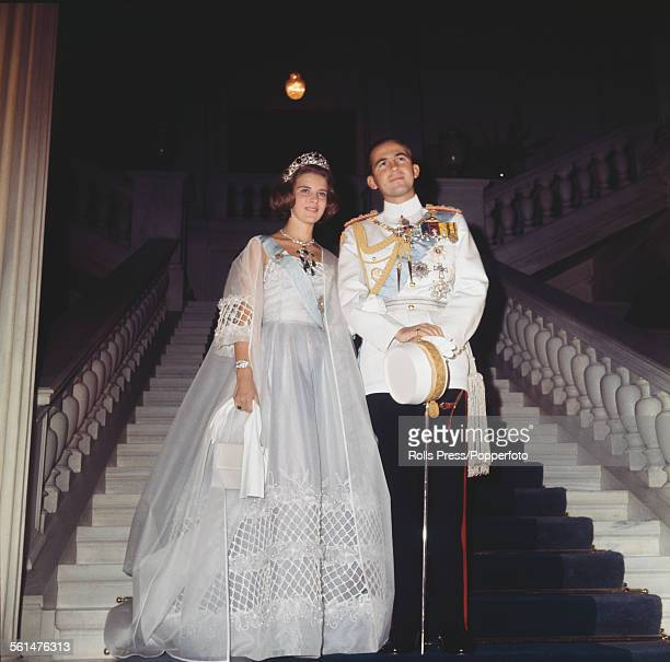 King Constantine II of Greece pictured together with Princess AnneMarie of Denmark on their wedding day in Athens Greece on 18th September 1964