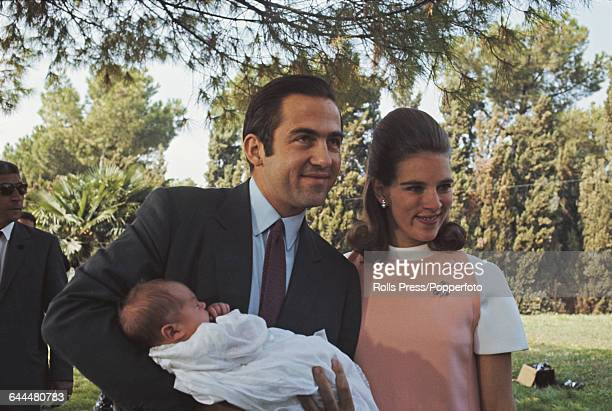 King Constantine II of Greece pictured with Queen AnneMarie of Greece and their new born son Prince Nikolaos of Greece and Denmark in Rome Italy on...