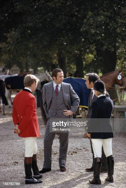 King Constantine II of Greece speaking with riders at the Piazza di Siena in Rome Italy in June 1973