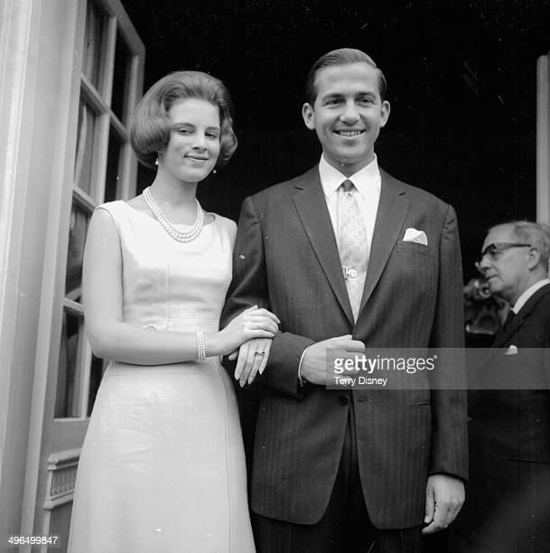 King Constantine of Greece and his wife Princess Anne Marie of Denmark on a visit to Copenhagen September 13th 1964