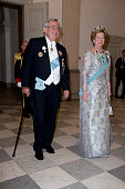 King Constantine of Greece and Queen AnneMarie of Greece attend a Gala Dinner at Christiansborg Palace on the eve of the 75th Birthday of Queen...