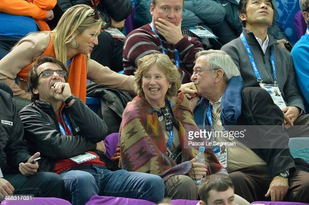 King Constantine of Greece kisses the hand of Queen Maxima of the Netherlands as they attend the Short Track on day 3 of the Sochi 2014 Winter...