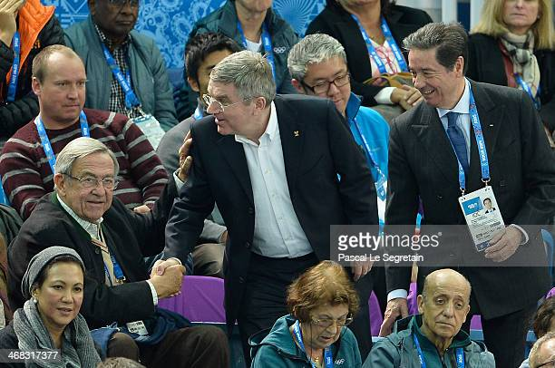 King Constantine of Greece shakes hands with International Olympic Committee President Thomas Bach as International Skating Union President Ottavio...