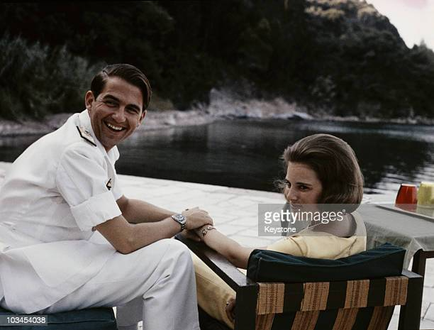 King Constantine of Greece with his fiancee Princess AnneMarie of Denmark at his summer residence in Corfu Greece in 1964