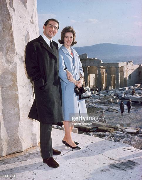 King Constantine of Greece with his fiancee Princess AnneMarie of Denmark on the Acropolis in Athens