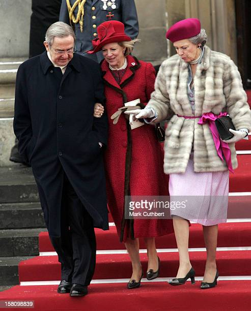 King Constantine Queen AnneMarie Of Greece Princess Benedikte Of Denmark Attend The Christening Of Crown Prince Frederik Crown Princess Mary Of...
