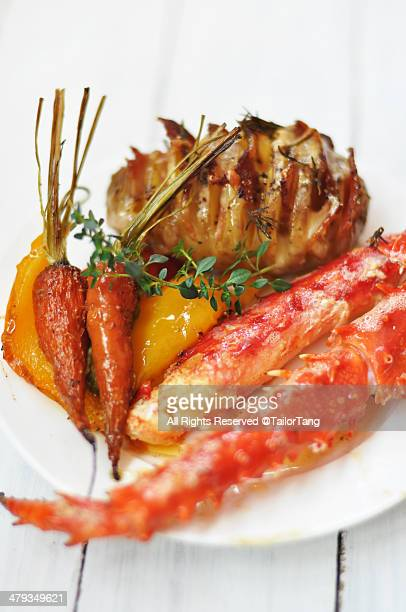 King Crab Leg with Roasted vegetables