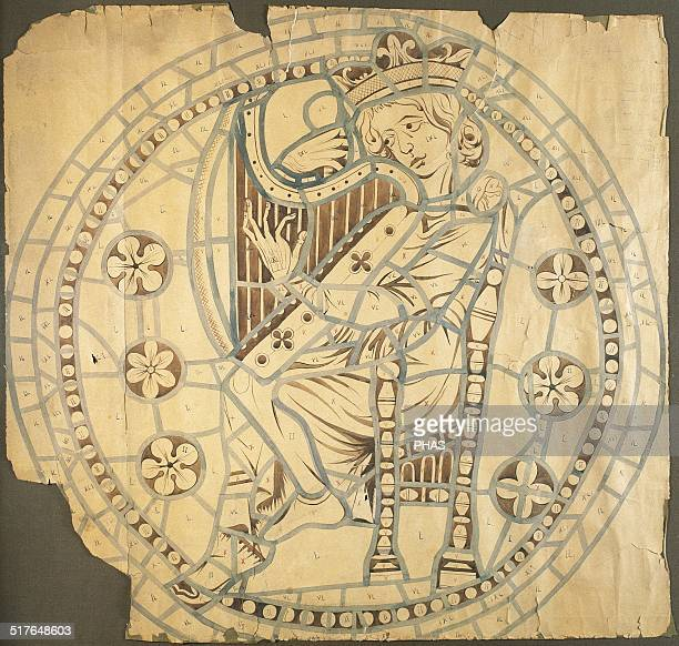 King David Drawing for the rose window of the Cathedral of Leon 14th century Paper gouache Leon Cathedral Chapter Castile and Leon Spain