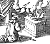 King David making a burnt offering 16th century Woodcut illustration from a 16th century Bible of a story from the Old Testament On the altar is a...