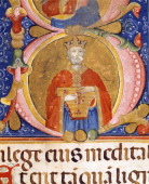 King David performs on the lyre miniature from manuscript Italy 16th Century