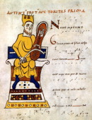 King David playing a 'lyre' 10th11th century The instrument is probably a Rebec a 3stringed instrument developed from the Arab Rabab From a...