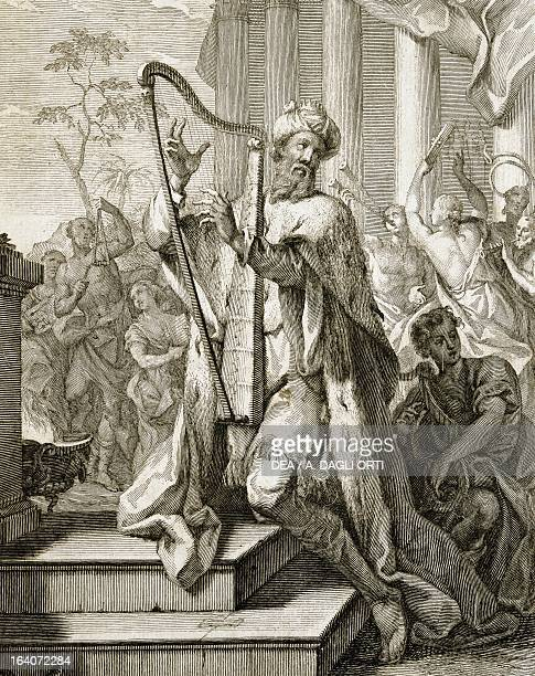 King David playing the lyre engraving from Estro poeticoarmonico paraphrases over the first 25 Psalms by Benedetto Marcello Venice Biblioteca...