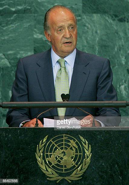 King Don Juan Carlos I of Spain addresses the United Nations General Assembly on September 14 2005 in New York City The 60th session of the UN...