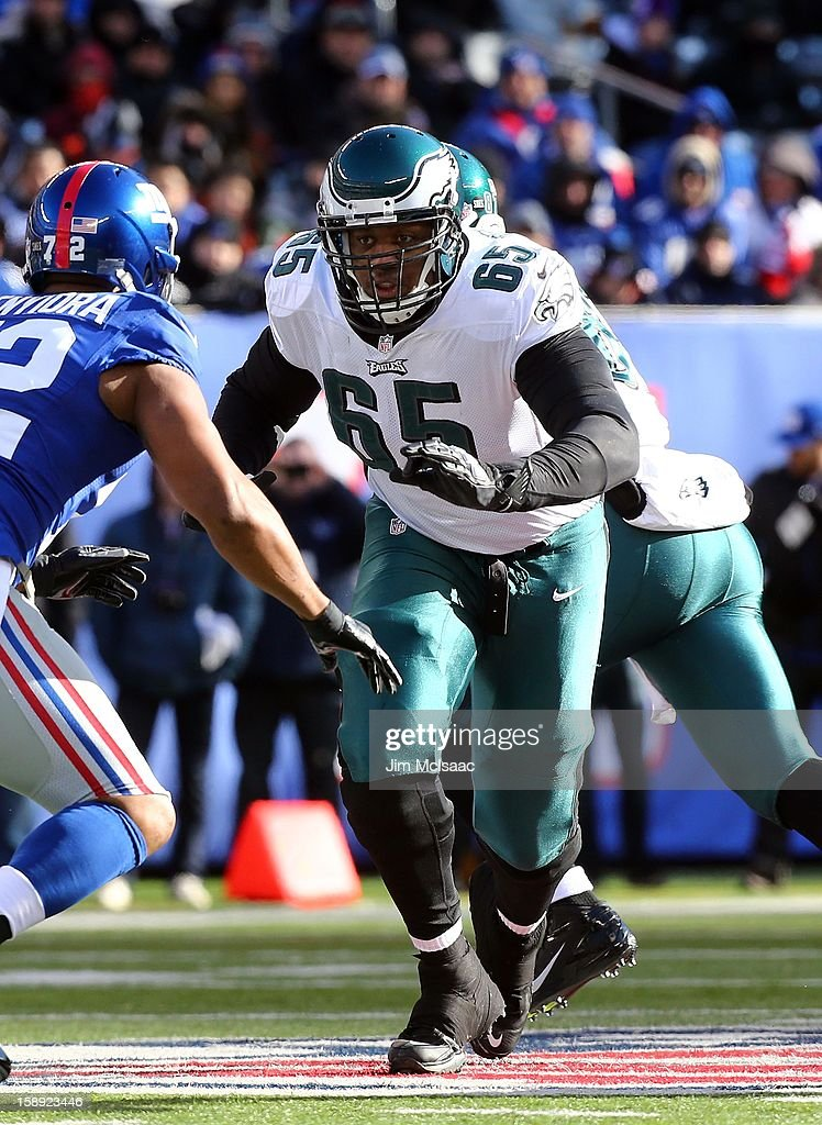 King Dunlap #65 of the Philadelphia Eagles in action against the New York Giants at MetLife Stadium on December 30, 2012 in East Rutherford, New Jersey. The Giants defeated the Eagles 42-7.