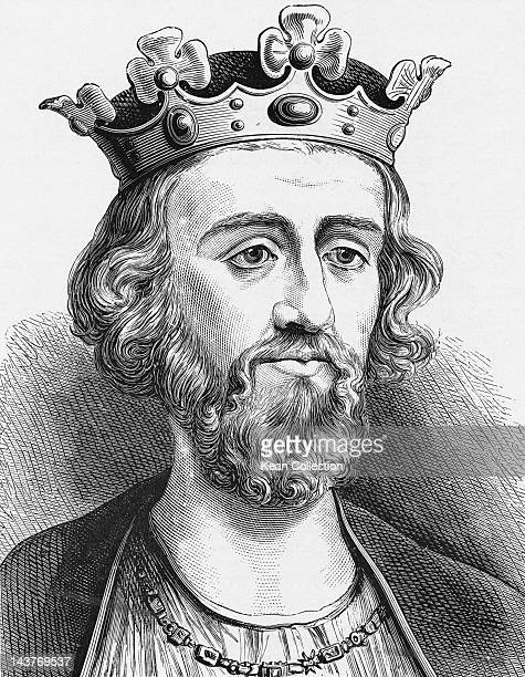 King Edward II of England known as Edward of Caernarfon circa 1307 He was deposed by his wife Isabella in 1327 in favour of his son Edward III