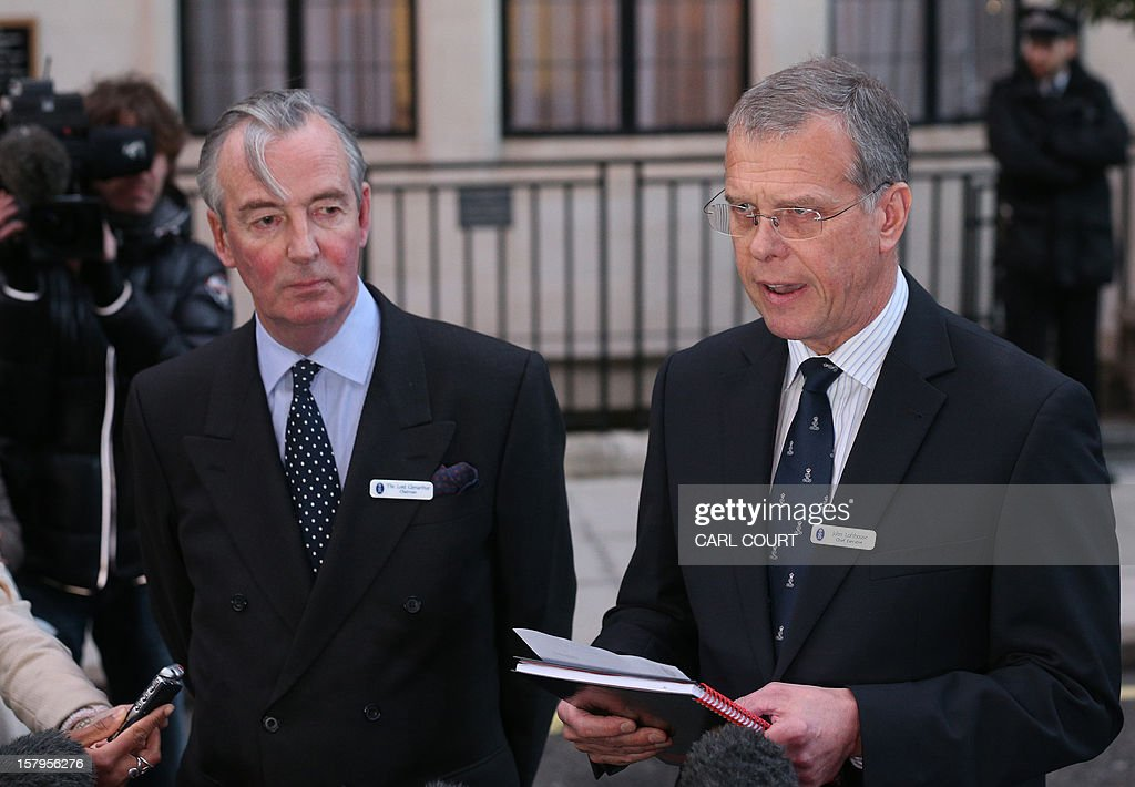 King Edward VII hospital chief executive John Lofthouse (R) standing next to the hospital's chairman Simon Glenarthur (L) speaks to the media outside the hospital in London on December 7, 2012 after nurse Jacintha Saldanha was found dead at a property close by. A nurse at the hospital which treated Prince William's pregnant wife Catherine, Duchess of Cambridge, was found dead on December 7, days after being duped by a hoax call from an Australian radio station, the hospital said. Police said they were treating the death, which happened at a property near the hospital, as unexplained.
