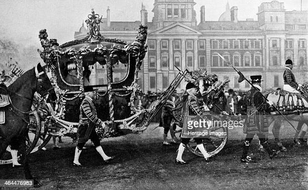King Edward VII in his coronation coach 1902 The Gold State Coach was first used to carry King William IV to his coronation in 1831 It has been used...